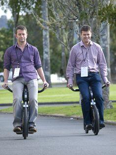 Shaun Ryan and Brother riding a Yike Bike.