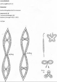 Ostereier Bobbin Lace Patterns, Lacemaking, Needle Lace, Hobbies And Crafts, Easter Eggs, Creations, Christmas, Handmade, Ali
