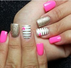 Golden and pink nails
