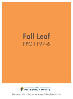 Fall Leaf PPG1197-5 from PPG Pittsburgh Paints. Vivid orange exudes energy & stimulates activity, making it a good choice for socializing spaces like kitchens & living rooms, as well as exercise areas. This hue of orange stands out & can dominate a room, so use them thoughtfully & complement them with greens, blues or neutrals.