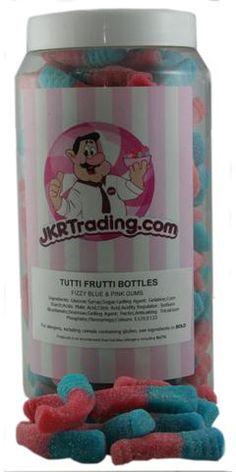 Tutti Frutti Bottles Sweet Jar A Gift Jar Full Of Fizzy Pink And Blue – JKR Trading Sweet Jars, Sodium Bicarbonate, Blue Bottle, Citric Acid, Tutti Frutti, Jar Gifts, Corn Starch, Bubble Gum, Bottles