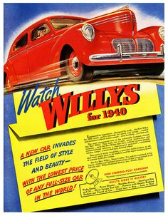 Watch Willys for 1940, A New Car Invades The Field Of Style & Beauty - September, 1939