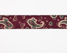 9 Yards of  Vintage Stretch Trim. Suspender Weight. Paisley Design in Burgundy, Beige, Forest Green.  Item 0793 on Etsy, $8.00