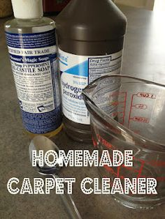 """Carpet cleaner DIY.  Worth a shot, right?  Also, a comment on the post says """"after putting you liquid on the stain, place a wet towel over it and press a hot iron over it. Check every 10 seconds and keep the iron moving to avoid burning the carpet.""""  Because Ellie definitely makes messes every now and then."""