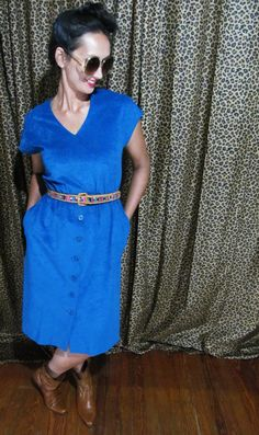 Vintage 70's Midi Suede Dress - Button Down Pencil by SpeckledRed, $25.00