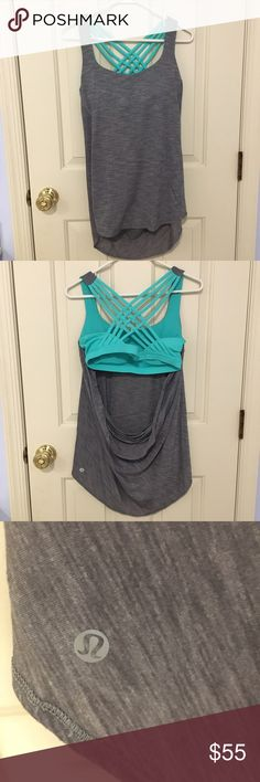 NWOT Wild Tank Lululemon My mom bought this to use in bikram yoga but she stopped going and she has never worn this top. It is sold out and I think they stopped making them. Very nice shirt as it is super cool and has the straps design in the back. Removable pads are in the sports bra lululemon athletica Tops Tank Tops