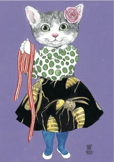 ヒグチユウコ「蜂柄スカートの女の子」(2013)