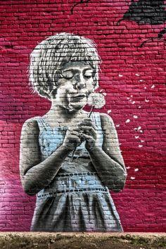 Street Art Girl Making A Wish