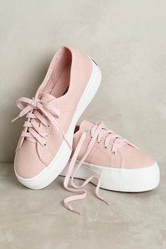 Slide View: 1: Superga Pink Canvas Platform Sneakers