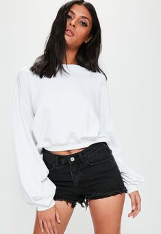 White Ruched Sleeve Sweatshirt Top