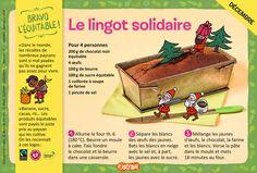 Le lingot solidaire : une recette pour les enfants de 7 à 11 ans avec du chocolat, des œufs, du beurre, du sucre et de la farine (extrait du magazine Astrapi n°856)