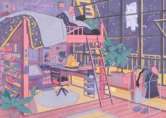Vacuum on room art arte gráfico, arte conceptual et arte fan Art And Illustration, Friends Illustration, Mountain Illustration, Aesthetic Drawing, Aesthetic Art, Aesthetic Anime, Aesthetic Bedroom, Art Anime, Anime Kunst