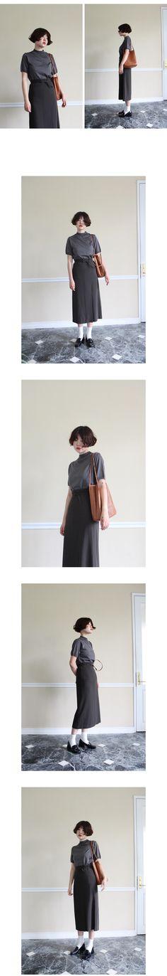 slit midi skirt(khaki,black!)