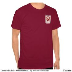 """#DisabledAdultsAwareness Ribbon #Angel Custom Tee - #DisabledAdults awareness uses a burgundy ribbon for its cause awareness. The shirt art features a burgundy awareness ribbon angel painting. The awareness angel t-shirt message notes """"Disabled Adults Awareness"""". There is a large image on the back of the shirt and a smaller picture on the front of the shirt. The burgundy awareness angel ribbon art apparel can be customized with personalized messages to make great cause event clothing for…"""