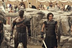 Pompeii 2014 - Milo meets another Gladiator named Atticus (played by the charismatic Adewale Akinnuoye-Agbaje) who he is supposed to kill in the arena. Description from silverpetticoatreview.com. I searched for this on bing.com/images