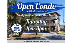 This Thursday at 1pm - Open CONDO - Okaloosa Island Permanent Residence, Fort Walton Beach, Home Warranty, How To Buy Land, Residential Real Estate, Parks And Recreation, Investment Property, Picnic Table, Places To See
