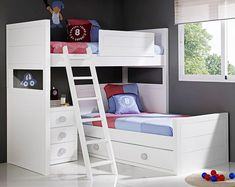 cucheta en L Girl Bedroom Designs, Kids Bedroom, Shared Boys Rooms, Small Room Decor, Space Saving Furniture, Spare Room, Kid Beds, Luxury Furniture, Girl Room