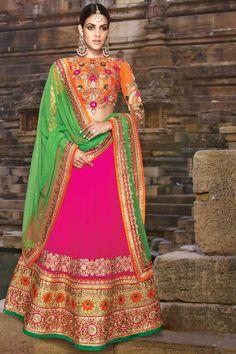 Buy Persian Rose Pink Faux Georgette Embroidered Wedding Lehenga Choli online.