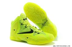 Authentic Fluorescence Green Black Nike LeBron 11 Womens For Sale