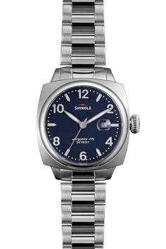 74b1e3681f2 Silver   Blue Shinola Women s Brakeman 32mm Watch Bracelete De Relógio De  Couro