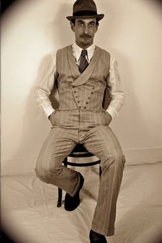 Italian fine wool pinstripe double breasted waistcoat and 1930s trousers handmade by www.somelikeitholy.com