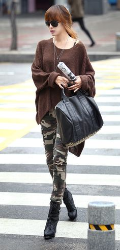 35ef623c6933 Studded bag + Army pants + Asymmetrical Sweater Camo Skinny Jeans