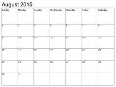 Monthly Calendar Printable 2015 August