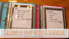 Back to School: Organize Your Middle Schooler - The Peaceful Mom