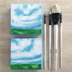 Mini landscape paintings   blue green white abstract art paintings landscapes