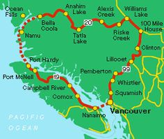 Circle tours of British Columbia - the Discovery Coast circle tour of British Columbia, Canada. Travel Maps, Travel Usa, Road Trip Map, Road Trips, Voyage Canada, Alaska, Victoria British, Canadian Travel, Seattle