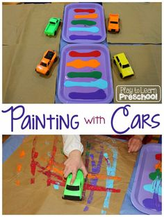 Play to Learn Preschool - Painting with Cars - awesome process art activity for…