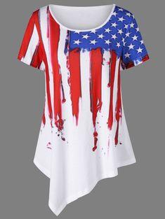 0213e122eae Plus Size American Flag Asymmetric T-Shirt - WHITE 2XL American Flag  Painting