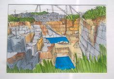 Patrimonio Industrial Arquitectónico: Mis dibujos industriales. Cantera de mármol de Ale...