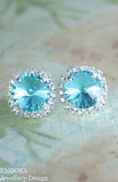 Stud Earrings Crystal Tiffany Blue Wedding Turquoise