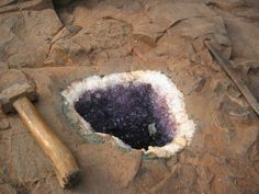 Amethyst geode in its parent rock .. How cool is this? I wish I was able to hunt rocks and minerals like this! Geology Wonders