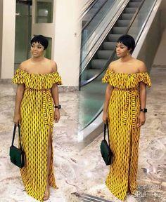 High Slit Off Shoulder Ankara Dress, African Print Dress, Ankara Dress, African Outfit - Magali - arabic styla African Wear Dresses, Latest African Fashion Dresses, African Print Fashion, Africa Fashion, African Attire, African Prints, Ankara Fashion, Fashion Top, African Fabric