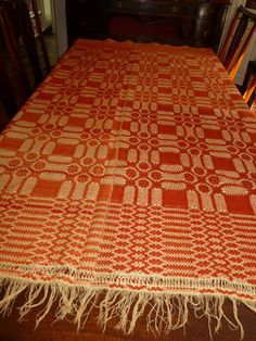 "Antique 1880 Geometric Overshot Woven Coverlet Orange Wool Ribbon Edge 83""X78"" 