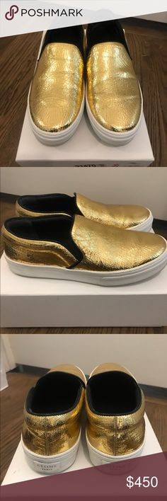 Celine Gold Slip On Sneaker 37 Lightly used, will come with original box. Super comfy, perfect to dress up or down. No trades, no low balls, all offers considered through button. Celine Shoes Sneakers