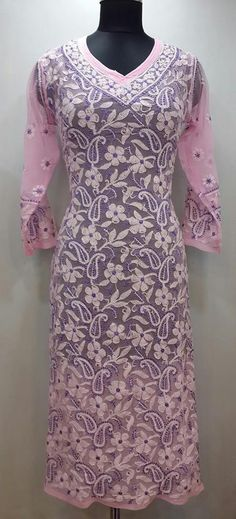 Lucknowi Chikan Kurti Pink Faux Georgette $44.16