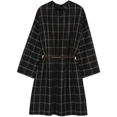 Lanvin Oversized wool-blend flannel dress (35.705.525 IDR) ❤ liked on Polyvore featuring dresses, pattern dress, lanvin, black and white pattern dress, black white print dress and leather belt