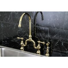 Vintage High-spout Polished Brass Bridge Kitchen Faucet with Side Sprayer (Polished Brass), Yellow, Kingston Brass Black Kitchen Faucets, Bathroom Faucets, Kitchen Sinks, Buy Kitchen, Tudor Kitchen, Hidden Kitchen, Kitchen Island, English Country Kitchens, Best Faucet