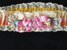 Antique Silk Garter with Ribbonwork and Lace by KISoriginals