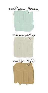 Not that these are your colors, but great idea for flow: I like keeping the champagne and rustic gold base through the house and changing the accent color by room - red, aqua, plum, orange