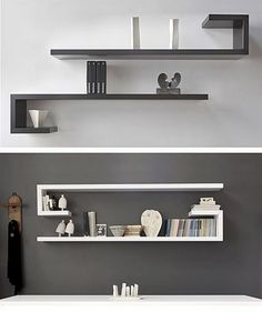 Most Unique Minimalist Wall Rack Design Ideas To Enhance Your Room Beauty The walls will not interfere with your traffic at home, but on the side a bit to make the eyes become irritate - Wall Rack Design, Wall Shelves Design, Diy Wall Shelves, Wall Racks, Floating Shelves, Corner Shelves, Black Wall Shelves, Unique Shelves, Bookshelf Design