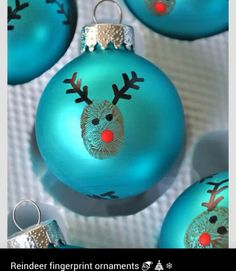 Reindeer fingerprint ornaments