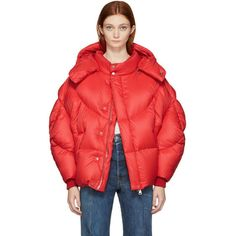 Chen Peng Red Down Jacket (€980) ❤ liked on Polyvore featuring outerwear, jackets, red, red zipper jacket, red jacket, feather jacket, red zip jacket and red quilted jacket