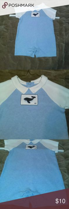 Janie and Jack baby boy 1 piece Light blue  oneies with white collar and short sleeves. Small whale on front. Janie and jack One Pieces Bodysuits