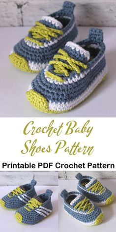 Diy Crafts - crochet,crochetpattern-Make a cute pair of baby sneakers baby shoes crochet patterns - baby gift - crochet pattern pdf - amorecraftylife. Crochet Baby Boots, Crochet Baby Sandals, Crochet Bebe, Booties Crochet, Crochet Shoes, Free Crochet, Knitted Baby, Crochet Baby Clothes Boy, Crochet Dolls
