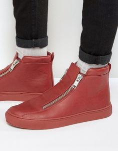 ASOS Zip Sneakers in Red With Chunky Sole
