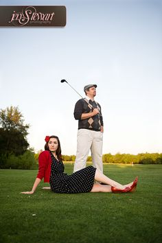 Fun vintage inspired outfits for an engagement session.  Groom is an avid golfer, so we went out to the golf course and had fun bringing that aspect into their session.
